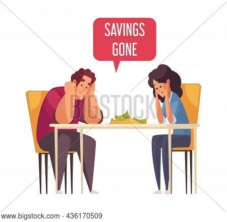 Sad Family With Gone Money Savings Cartoon Vector Illustration