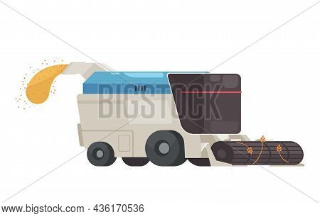 Smart Automatic Combine Harvester At Work Flat Icon On White Background Vector Illustration