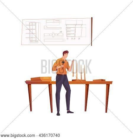 Furniture Maker Making Wooden Stool In His Workshop Flat Vector Illustration