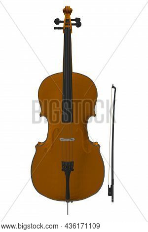 Brown Decorative Violin Isolated On White Background. 3d. Vector Illustration