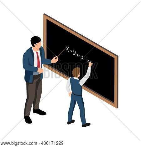 Isometric School Lesson Icon With Male Teacher And Pupil Doing Sums On Board Vector Illustration