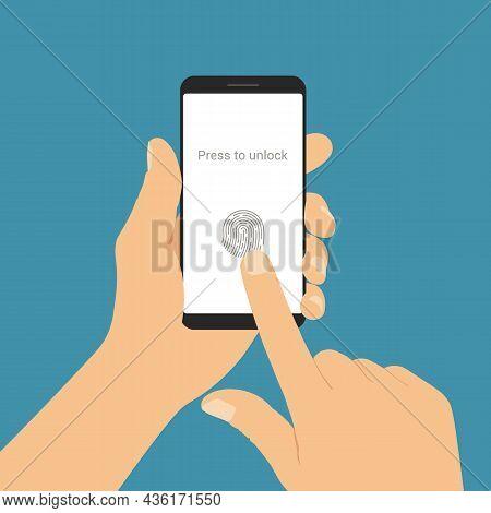 Flat Design Illustration Of Male Hand Holding Smartphone. Unlock Touch Screen With Fingerprint - Vec