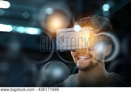 Man wearing virtual reality goggles. Mixed media