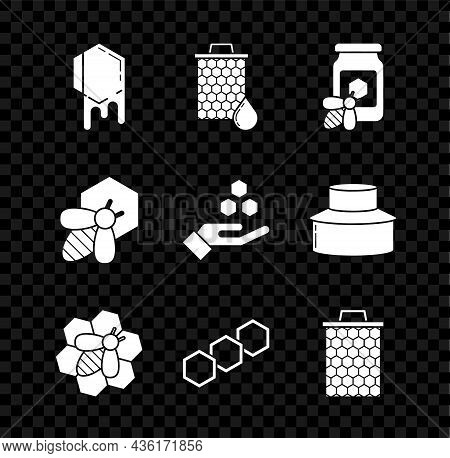 Set Honeycomb, Jar Of Honey With Bee, Bee And Honeycomb, And Hand Icon. Vector