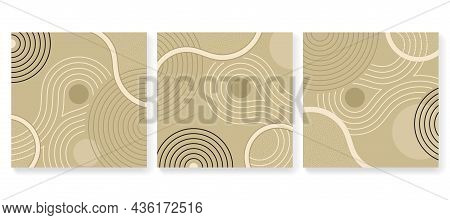 Abstract Square Backgrounds Set In Zen Garden Japanese Decoration - Circles Of Stones And Wavy Spira