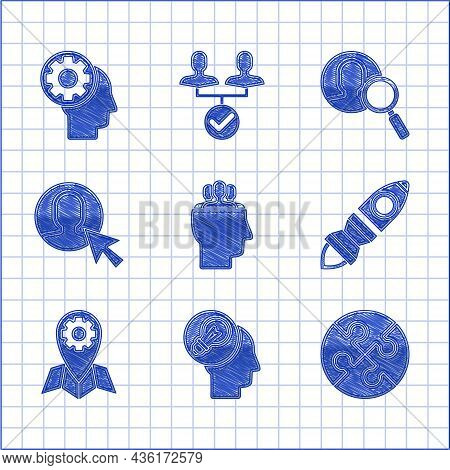 Set Project Team Base, Human Head With Lamp Bulb, Piece Of Puzzle, Rocket Ship Fire, Location Job, U