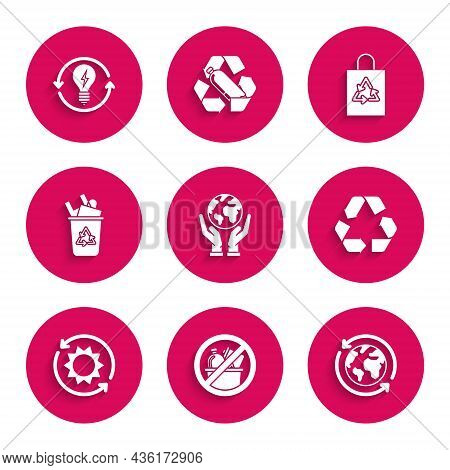 Set Human Hands Holding Earth Globe, No Trash, Planet Earth Recycling, Recycle Symbol, Solar Energy