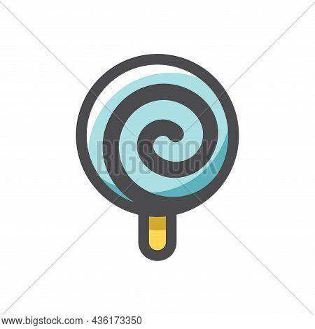 Sweet Glossy Lollipop Vector Icon Cartoon Illustration