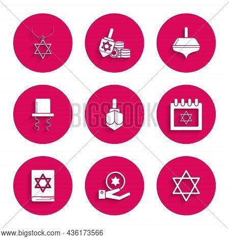 Set Hanukkah Dreidel, Jewish Coin On Hand, Star Of David, Calendar With Star David, Torah Book, Orth