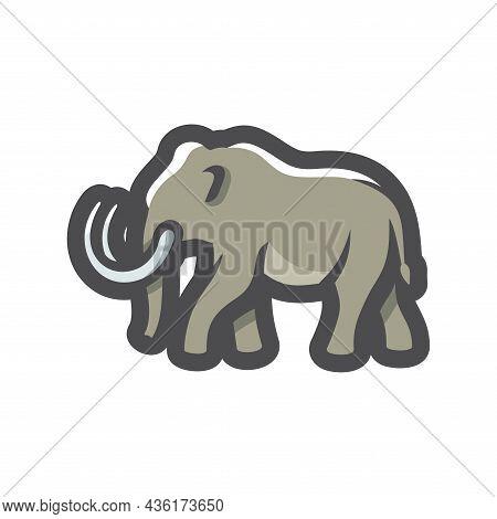 Mammoth Ancient Animal Vector Icon Cartoon Illustration