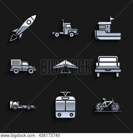 Set Hang Glider, Tram And Railway, Bicycle, Pickup Truck, Formula Race Car, Delivery Cargo Vehicle,