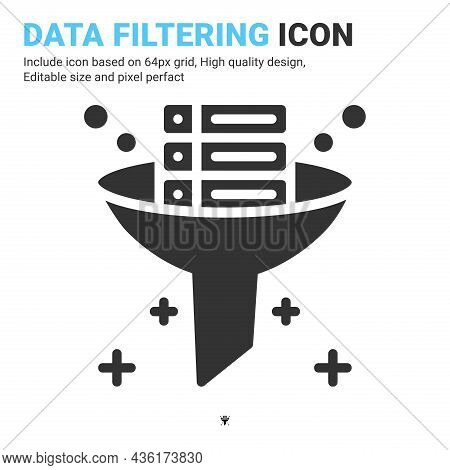Data Filtering Icon Vector With Glyph Style Isolated On White Background. Vector Illustration Databa