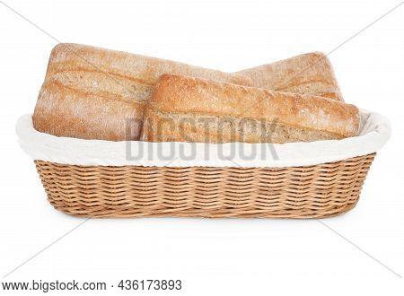 Crispy Ciabattas In Wicker Basket Isolated On White. Fresh Bread