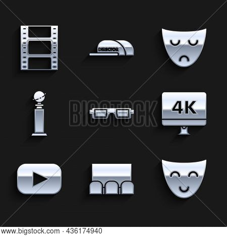 Set 3d Cinema Glasses, , Comedy Theatrical Mask, Computer Pc Monitor With 4k Video Technology, Play,