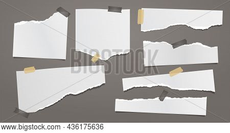 Set Of Torn White Note, Notebook Paper Pieces With Sticky Tape Stuck On Dark Grey Background. Vector