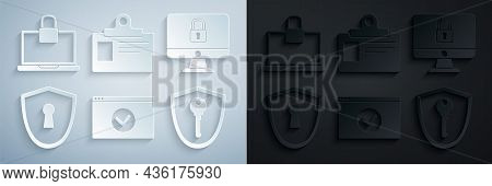 Set Secure Your Site With Https, Ssl, Lock On Computer Monitor Screen, Shield Keyhole, Identificatio