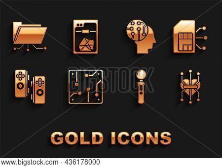 Set Processor, Sim Card, Gamepad, Human Brain As Digital Circuit Board, Folder And Lock And 3d Print