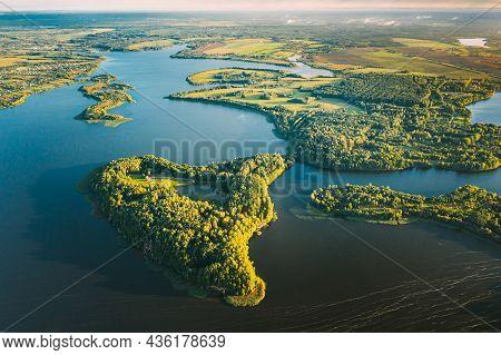 Lyepyel, Lepel Lake, Beloozerny District, Vitebsk Region. Aerial View Of Island Pension Lode In Autu