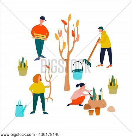 People Planting Seedlings, Rootstocks. Set Of Vector Illustrations In Flat Style. Autumn Work In A G