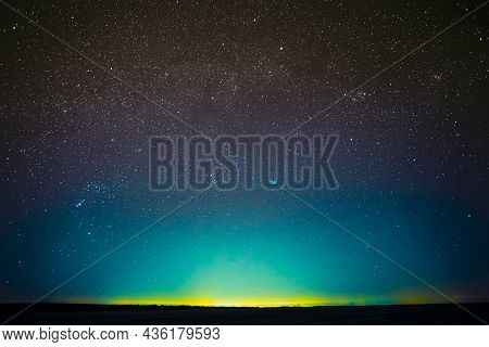 Awesome Beautiful Night Sky Glowing Stars Background Backdrop With Colorful Sky Gradient. Colourful