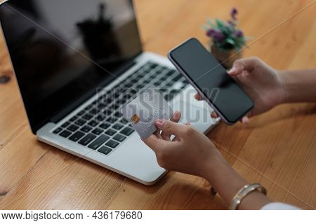 Woman Holding Credit Card And Using Smartphone At Home, Businessman Shopping Online, E-commerce, Int