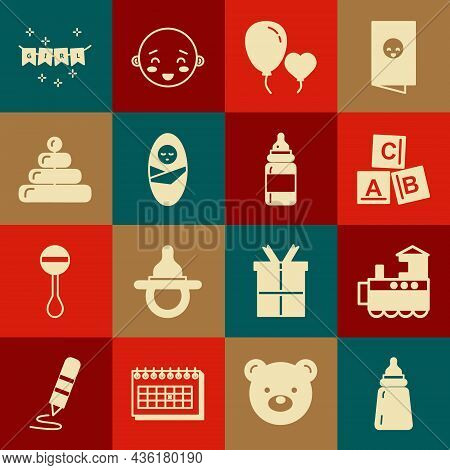 Set Baby Bottle, Toy Train, Abc Blocks, Balloons Form Of Heart, Newborn Baby Infant Swaddled, Pyrami