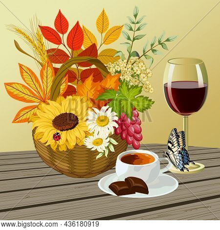 Illustration With Leaves And Drinks.basket With Autumn Leaves, A Cup Of Coffee, A Glass Of Wine On A