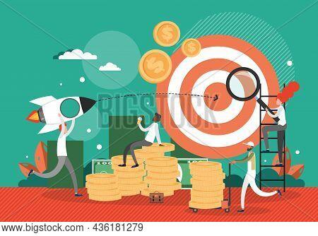 Businessman Launching Rocket To Big Target, Flat Vector Illustration. Business Project Startup, Goal