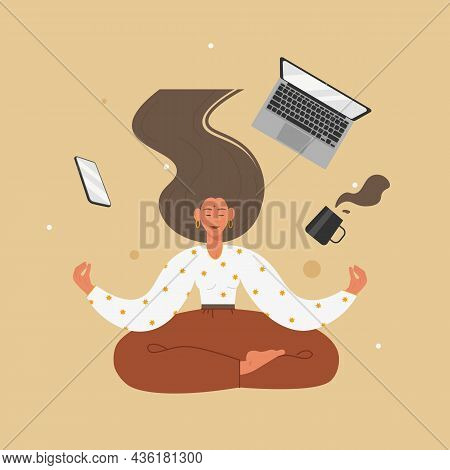 Young Woman Meditating Sitting In Yoga Position, Vector Illustration. Harmony, Wellness. Yoga Time.