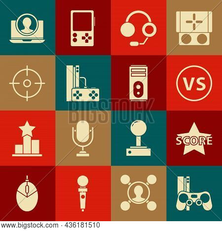 Set Game Console With Joystick, Star, Vs Versus Battle, Headphones, Target Sport, Create Account Scr
