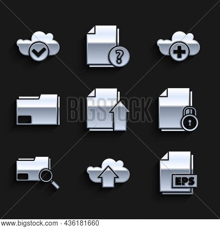 Set Upload File Document, Cloud Upload, Eps, Document And Lock, Search Concept With Folder, Add Clou