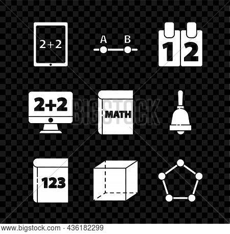 Set Tablet With Calculator, Graph, Schedule, Chart, Diagram, Calendar, Book Word Mathematics, Geomet