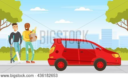 Smiling Man With Injured Leg Walking With Crutches With Friend Carrying Shopping Bag Vector Illustra