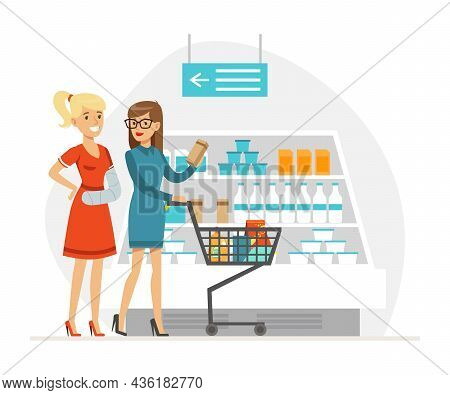 Smiling Woman With Shopping Cart Helping Disabled Friend To Buy Provisions Vector Illustration