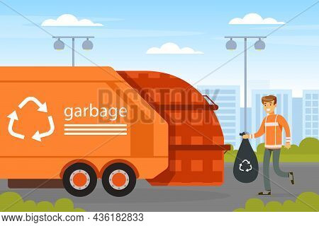 Man Waste Collector Or Garbageman In Orange Uniform Collecting Municipal Solid Waste And Recyclables
