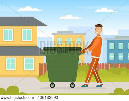 Man Waste Collector Or Garbageman In Orange Uniform Pushing Dustbin With Municipal Solid Waste And R