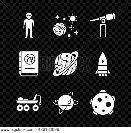 Set Alien, Space And Planet, Telescope, Mars Rover, Satellites Orbiting The Earth, Planet, Book By A