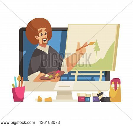 Cartoon Man Art Blogger Painting Picture Online Vector Illustration