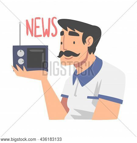 Moustached Man Character Gathering News Listening To Radio Vector Illustration
