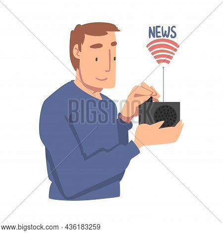 Young Man Character Gathering News Listening To Radio Vector Illustration
