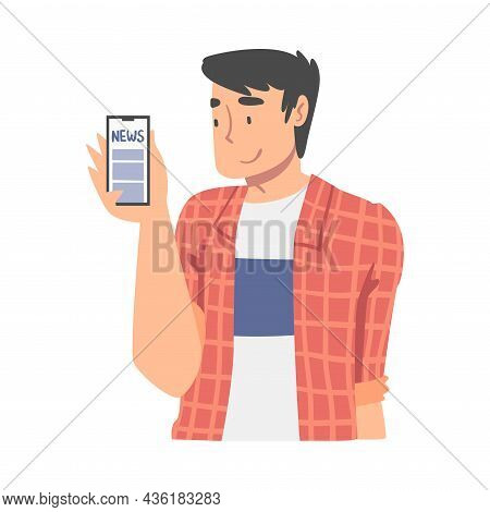 Man Character Gathering News Reading Article On Smartphone Vector Illustration