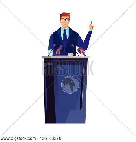 Politician Giving Speech At Speakers Stand Flat Vector Illustration