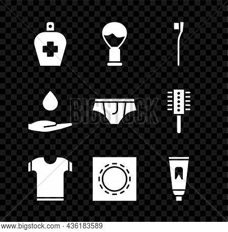 Set Bottle Of Liquid Antibacterial Soap, Shaving Brush, Toothbrush, T-shirt, Condom Package Safe Sex