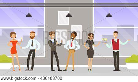 Man Waiter As Hotel Staff In Uniform Serving Visitors Distributing Drinks Vector Illustration