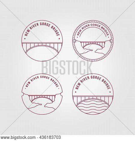 Emblem New River George Bridge Logo Line Art Vector Illustration Design