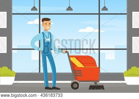 Man Janitor As Hotel Staff In Overall Vacuum Cleaning Floor Vector Illustration