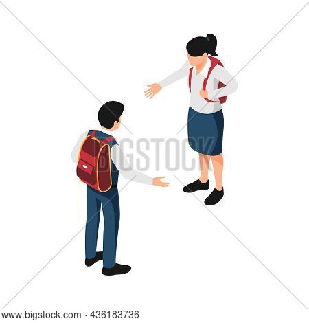 Isometric Icon With Two Pupils In School Uniform Greeting Each Other Vector Illustration