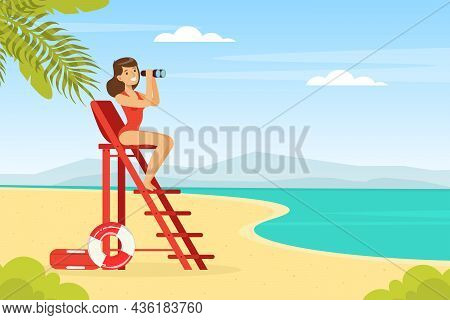 Young Woman Lifeguard Sitting On High Ladder With Binoculars Supervising Safety Vector Illustration