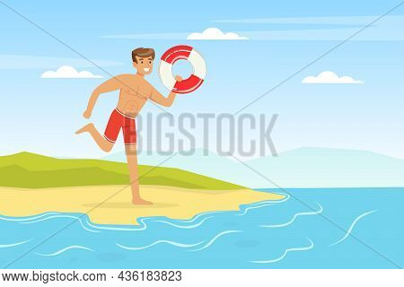 Young Man Lifeguard Running With Lifebuoy Supervising Safety Vector Illustration