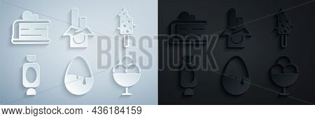 Set Chocolate Egg, Ice Cream, Candy, In Bowl, Bar And Piece Of Cake Icon. Vector